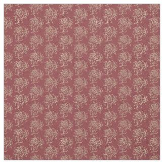 Ethnic Style Floral Mini-print Beige on Maroon Fabric