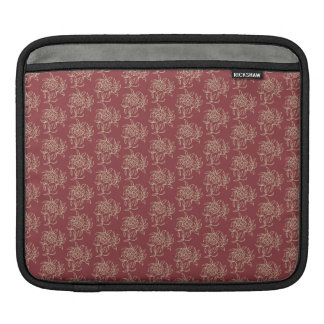 Ethnic Style Floral Mini-print Beige on Maroon iPad Sleeve