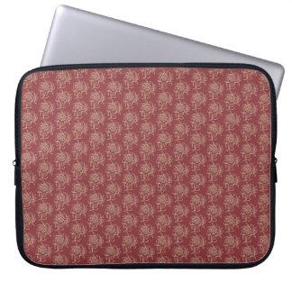 Ethnic Style Floral Mini-print Beige on Maroon Laptop Sleeve