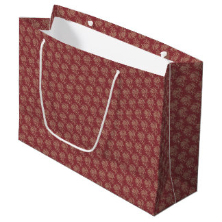Ethnic Style Floral Mini-print Beige on Maroon Large Gift Bag