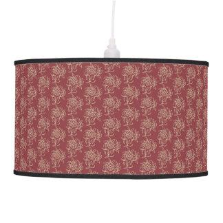 Ethnic Style Floral Mini-print Beige on Maroon Pendant Lamp