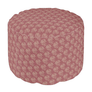 Ethnic Style Floral Mini-print Beige on Maroon Pouf