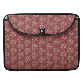 Ethnic Style Floral Mini-print Beige on Maroon Sleeve For MacBook Pro