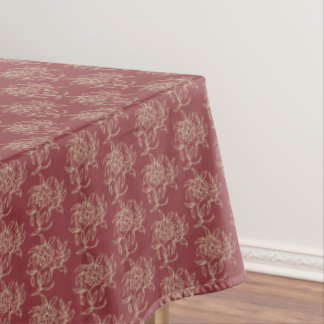 Ethnic Style Floral Mini-print Beige on Maroon Tablecloth