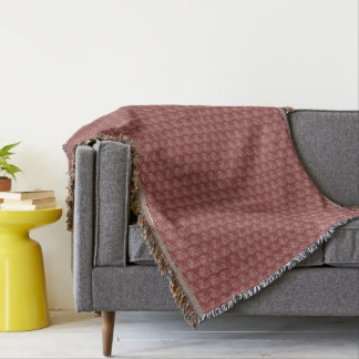 Ethnic Style Floral Mini-print Beige on Maroon Throw Blanket