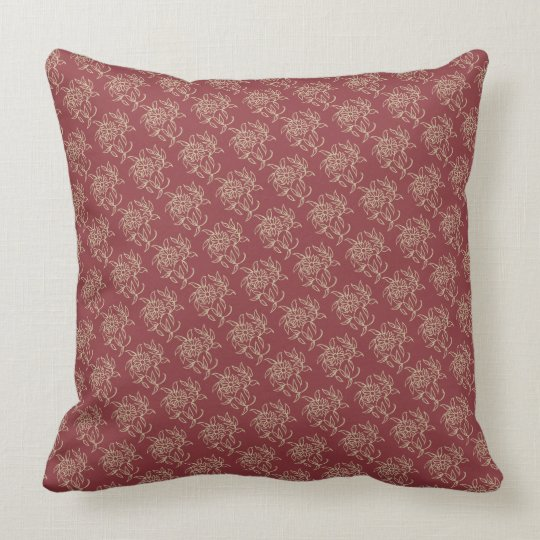 Ethnic Style Floral Mini-print Beige on Maroon Throw Pillow