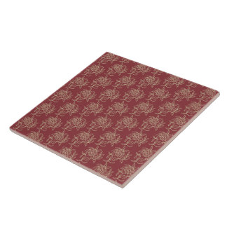 Ethnic Style Floral Mini-print Beige on Maroon Tile