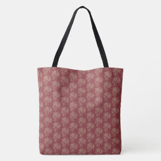 Ethnic Style Floral Mini-print Beige on Maroon Tote Bag