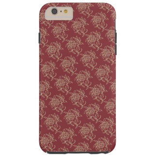Ethnic Style Floral Mini-print Beige on Maroon Tough iPhone 6 Plus Case