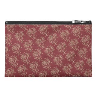 Ethnic Style Floral Mini-print Beige on Maroon Travel Accessory Bag