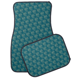 Ethnic Style Floral Mini-print Beige on Teal Car Mat