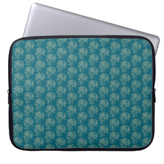 Ethnic Style Floral Mini-print Beige on Teal Computer Sleeve