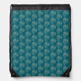 Ethnic Style Floral Mini-print Beige on Teal Drawstring Bag