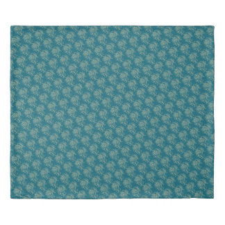 Ethnic Style Floral Mini-print Beige on Teal Duvet Cover
