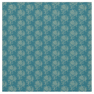 Ethnic Style Floral Mini-print Beige on Teal Fabric
