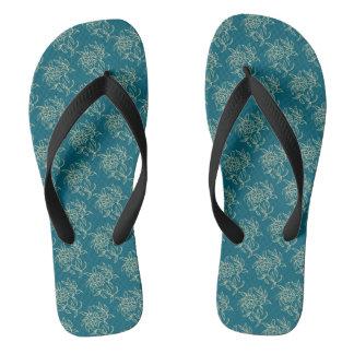 Ethnic Style Floral Mini-print Beige on Teal Flip Flops