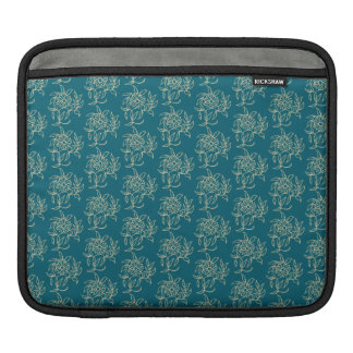 Ethnic Style Floral Mini-print Beige on Teal iPad Sleeve