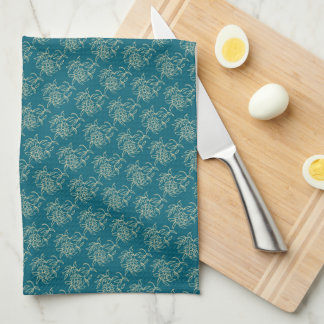 Ethnic Style Floral Mini-print Beige on Teal Kitchen Towel