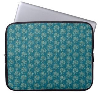 Ethnic Style Floral Mini-print Beige on Teal Laptop Sleeve