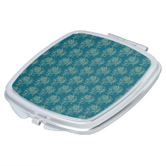 Ethnic Style Floral Mini-print Beige on Teal Makeup Mirrors