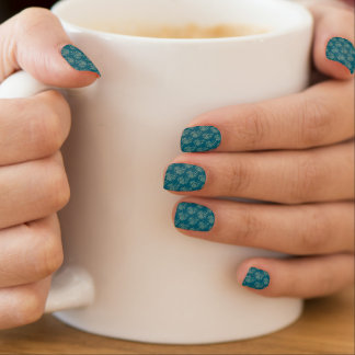 Ethnic Style Floral Mini-print Beige on Teal Minx Nail Art