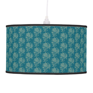 Ethnic Style Floral Mini-print Beige on Teal Pendant Lamp
