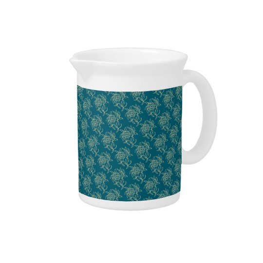 Ethnic Style Floral Mini-print Beige on Teal Pitchers