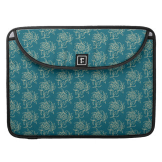 Ethnic Style Floral Mini-print Beige on Teal Sleeve For MacBook Pro