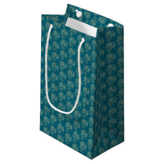 Ethnic Style Floral Mini-print Beige on Teal Small Gift Bag