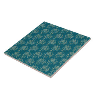Ethnic Style Floral Mini-print Beige on Teal Tile