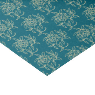Ethnic Style Floral Mini-print Beige on Teal Tissue Paper