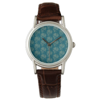 Ethnic Style Floral Mini-print Beige on Teal Watch