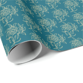 Ethnic Style Floral Mini-print Beige on Teal Wrapping Paper