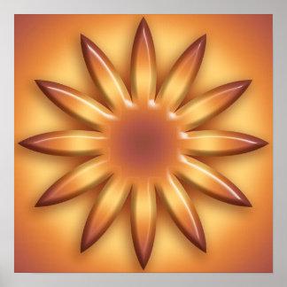 Ethnic sun. Geometric gradient element. Poster