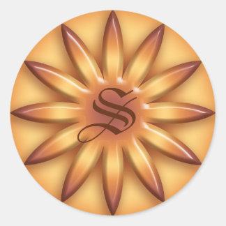 ethnic Sun. Geometric gradient texture.Monogram. Classic Round Sticker