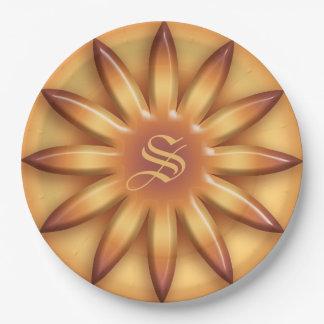 Ethnic Sun. Geometric Gradient texture.Monogram. Paper Plate