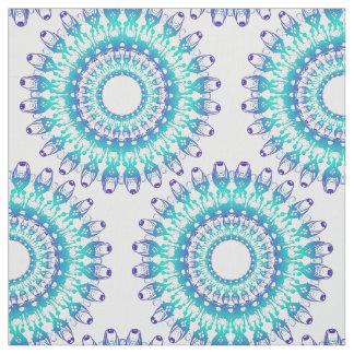 ethnic teal mandala. fabric
