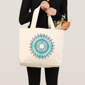 ethnic teal mandala. large tote bag