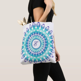 Ethnic teal mandala. monogram. tote bag