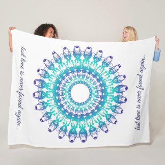 ethnic teal mandala. Text. Fleece Blanket
