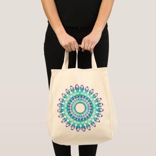 ethnic teal mandala. tote bag