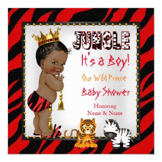 Ethnique rouge de prince baby shower sauvage de carton d'invitation  13,33 cm