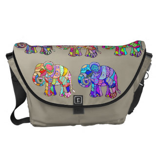 Ethno Colorful Pyschedelic Ornamental Elephants Messenger Bag