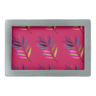 ETHNO DESIGN Leaves Pink Rectangular Belt Buckles