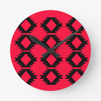Ethno design  Red  mayan design Round Clock