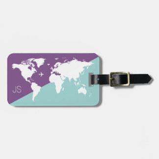 Étiquette À Bagage pourpre graphique de voyage de carte du monde
