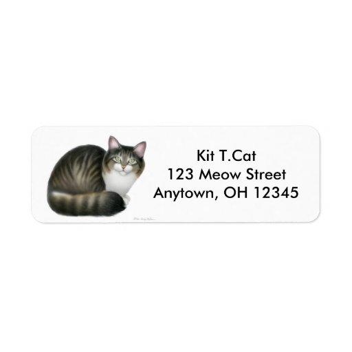 Étiquette amical d'Avery de chat tigré Étiquette D'adresse Retour