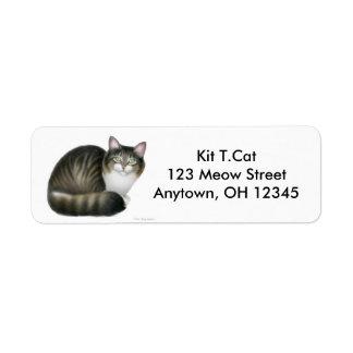 Étiquette amical d'Avery de chat tigré