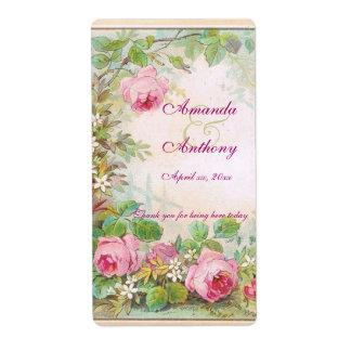 Étiquette anglais de vin/eau de jardin de roses vi étiquette d'expédition