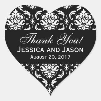 Étiquette blanc noir de Merci de damassé de Sticker Cœur